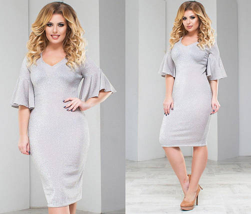 """Облегающее трикотажное платье люрекс """"Brielle"""" с расклешенными рукавами (большие размеры), фото 2"""