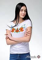 Жіноча футболка-вишиванка на короткий рукав білого кольору «Польова краса», фото 1