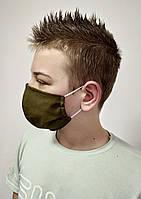 Защитная тканевая маска хаки трехслойная тканевая