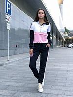 Стильный женский спортивный костюм, черный+пудра+белый, фото 1