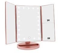 Тройное зеркало РОЗОВОЕ со ставнями Led miror | Зеркало косметическое с подсветкой