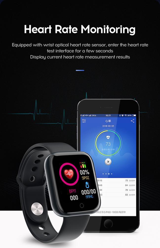 Смарт часы браслет D20 фитнес трекер черные