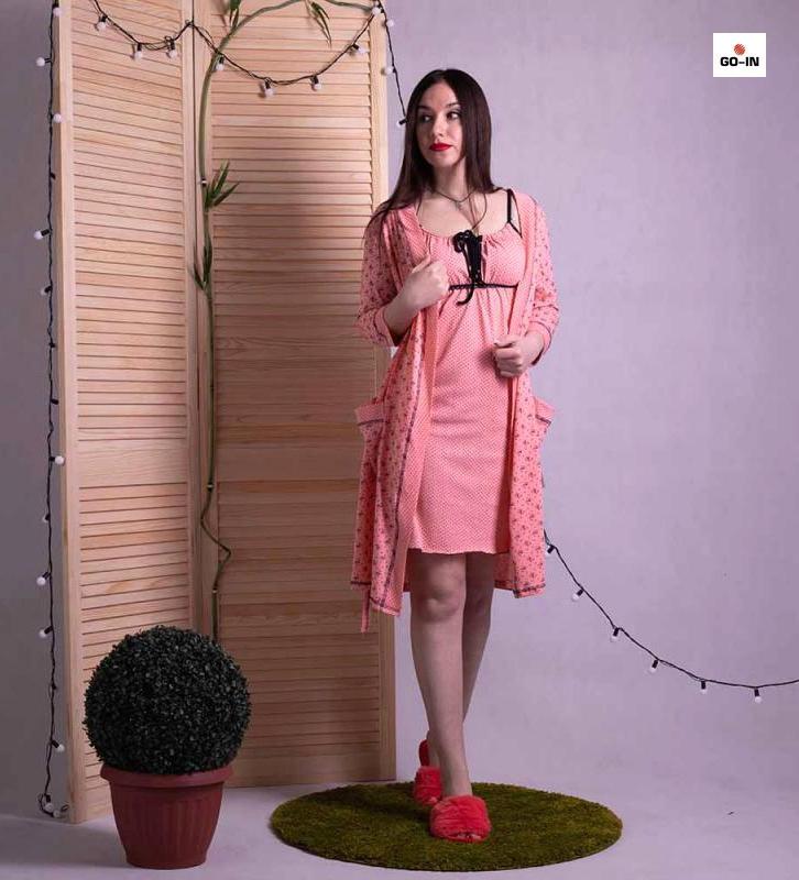 Комплект для роддома халат с ночной хлопковый персиковый р.42-54