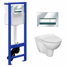 Инсталляционный модуль Cersanit Hi-Tec с кнопкой, чашей унитаза Parva CleanOn и сиденьем 927