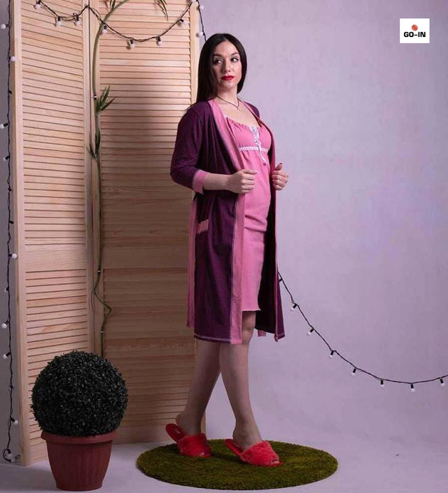 Женский комплект в роддом халат и сорочка, для беременных и кормящих мам