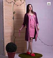 Комплект в роддом халат и сорочка трикотаж, для беременных и кормящих мам бордо р.42-54