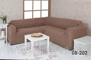 Чехол на угловой диван без оборки, натяжной, жатка-креш, универсальный, Concordia 08-200