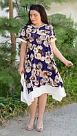 Трикотажное комбинированноелетнее женское платье «Тая» (50-52; 54-56; 58-60; 62-64 | Синее, бордовое)