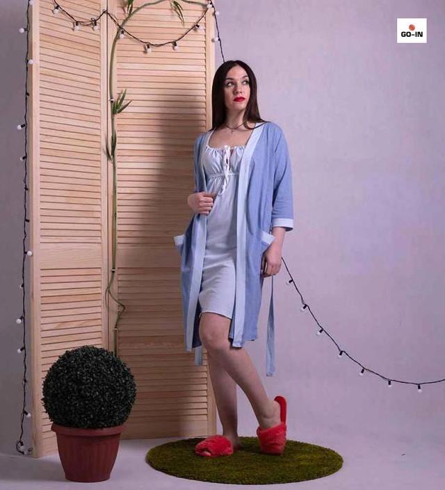 Женский комплект для беременных халат с ночной летний голубой