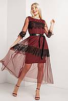 Двухслойное нарядное платье QUEEN из бордового фатина с кружевом