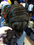 Женская норковая косынка цвет шоколад, фото 4