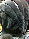 Женская норковая косынка цвет шоколад, фото 8