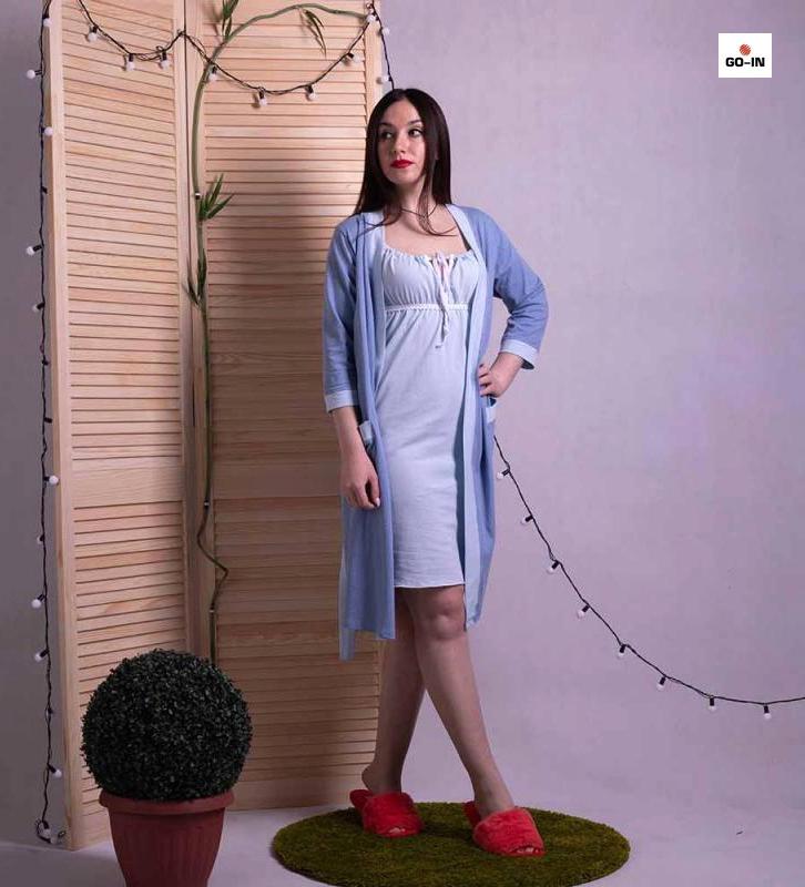 Женский комплект для беременных халат с ночной летний голубой 42-54р.