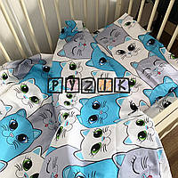 Постельный набор в детскую кроватку (3 предмета) Котики синие, фото 1