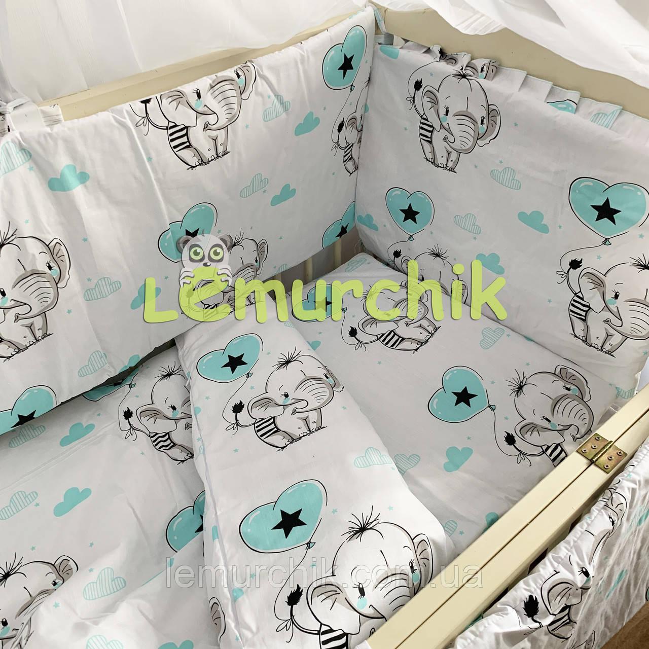 """Постельный набор в детскую кроватку (8 предметов) Premium """"Слоники"""" белый"""