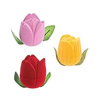 """Футляр """"Тюльпан"""" Boxshop, бархатный под кольцо, для ювелирных изделий"""