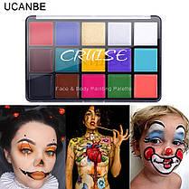 """15 цветов масляные краски для боди-арт для лица, тела: макияж на вечеринку """"Cruise UCANBE"""" make up 80 грамм, фото 3"""