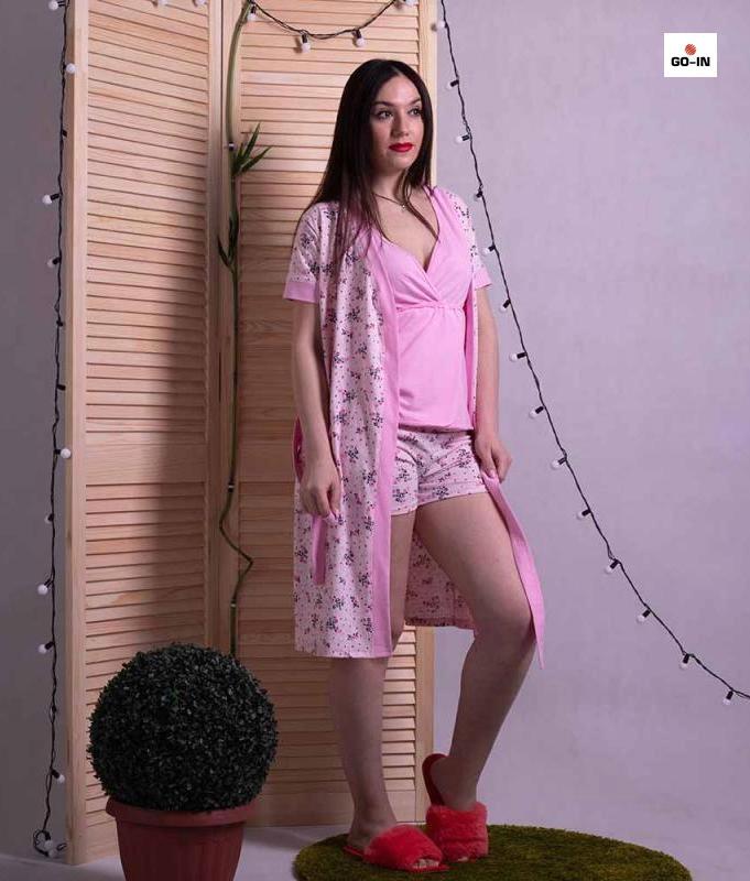 Жіночий комплект халат з піжамою річний рожевий р. 42-54