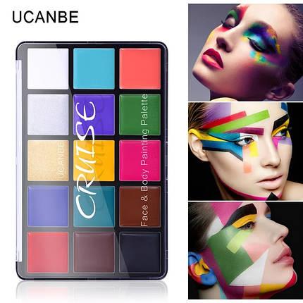 """15 цветов масляные краски для боди-арт для лица, тела: макияж на вечеринку """"Cruise UCANBE"""" make up 80 грамм, фото 2"""