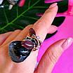Оригинальное женское серебряное кольцо с улекситом и ониксом, фото 6