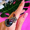 Оригинальное женское серебряное кольцо с улекситом и ониксом, фото 5