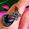 Оригинальное женское серебряное кольцо с улекситом и ониксом, фото 4