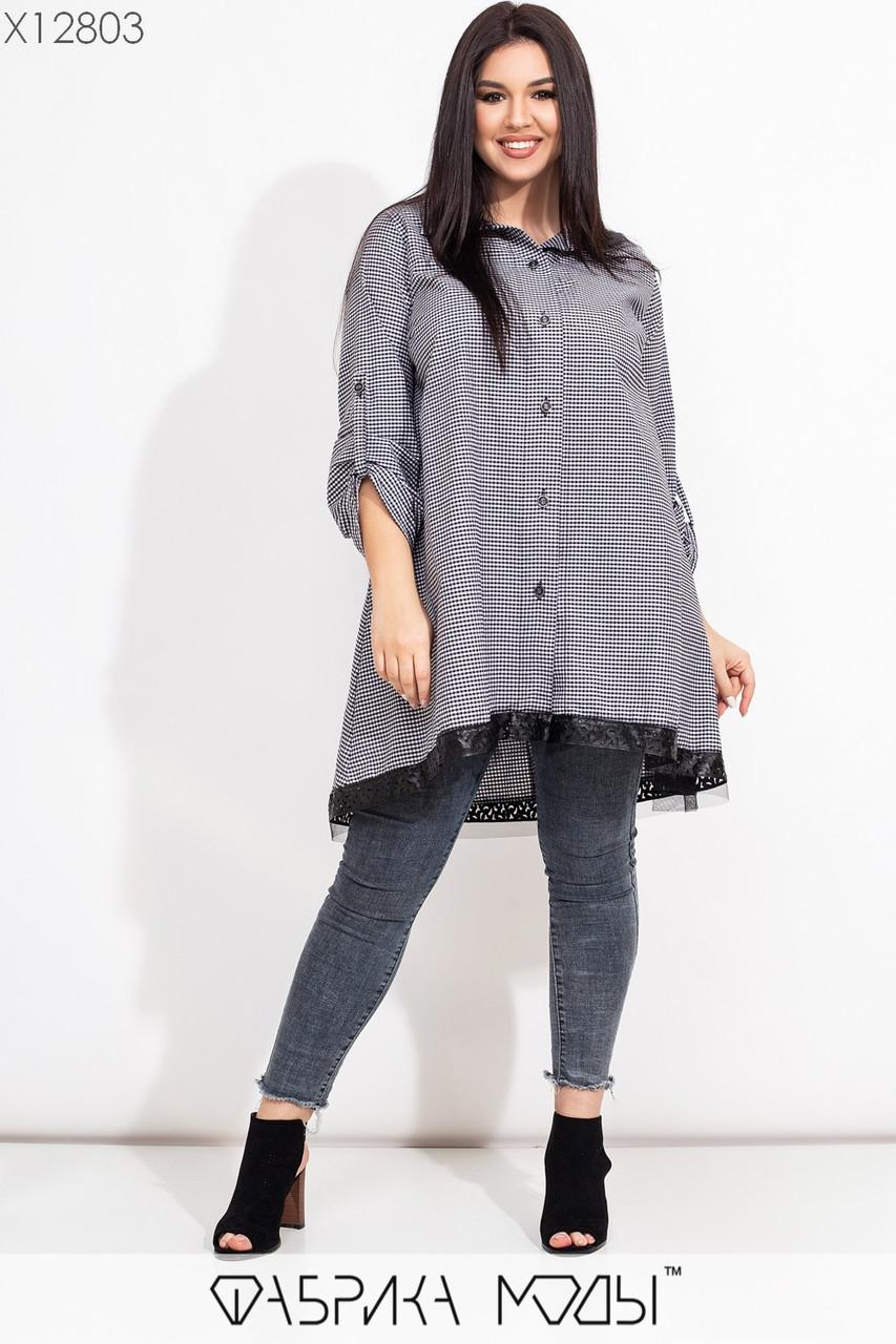 Коттоновая асимметричная рубашка в больших размерах трапецивидного кроя 115619