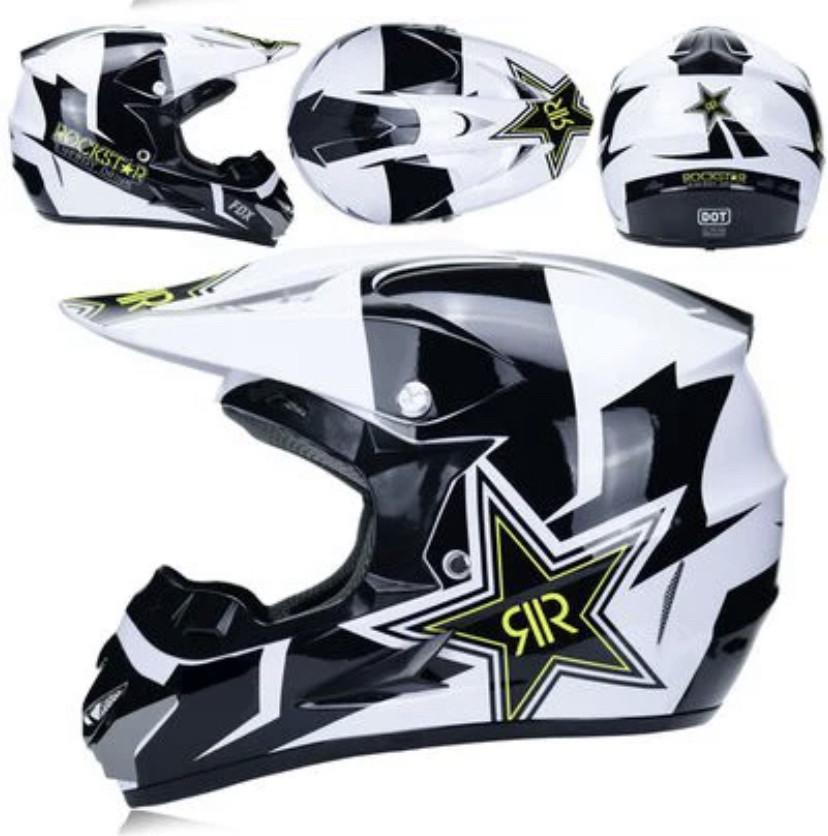 Черно- белый мотошлем мото кроссовый шлем  фулфейс Fox  (эндуро, даунхил)
