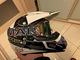 Черно- белый мотошлем мото кроссовый шлем  фулфейс Fox  (эндуро, даунхил), фото 2