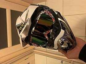 Черно- белый мотошлем мото кроссовый шлем  фулфейс Fox  (эндуро, даунхил), фото 3
