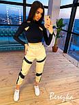 Женский брючный костюм с вставками светоотражения на штанах и с черным топом 6610572E, фото 4