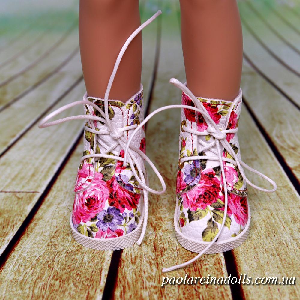 Ботиночки белые с розами для кукол Паола Рейна