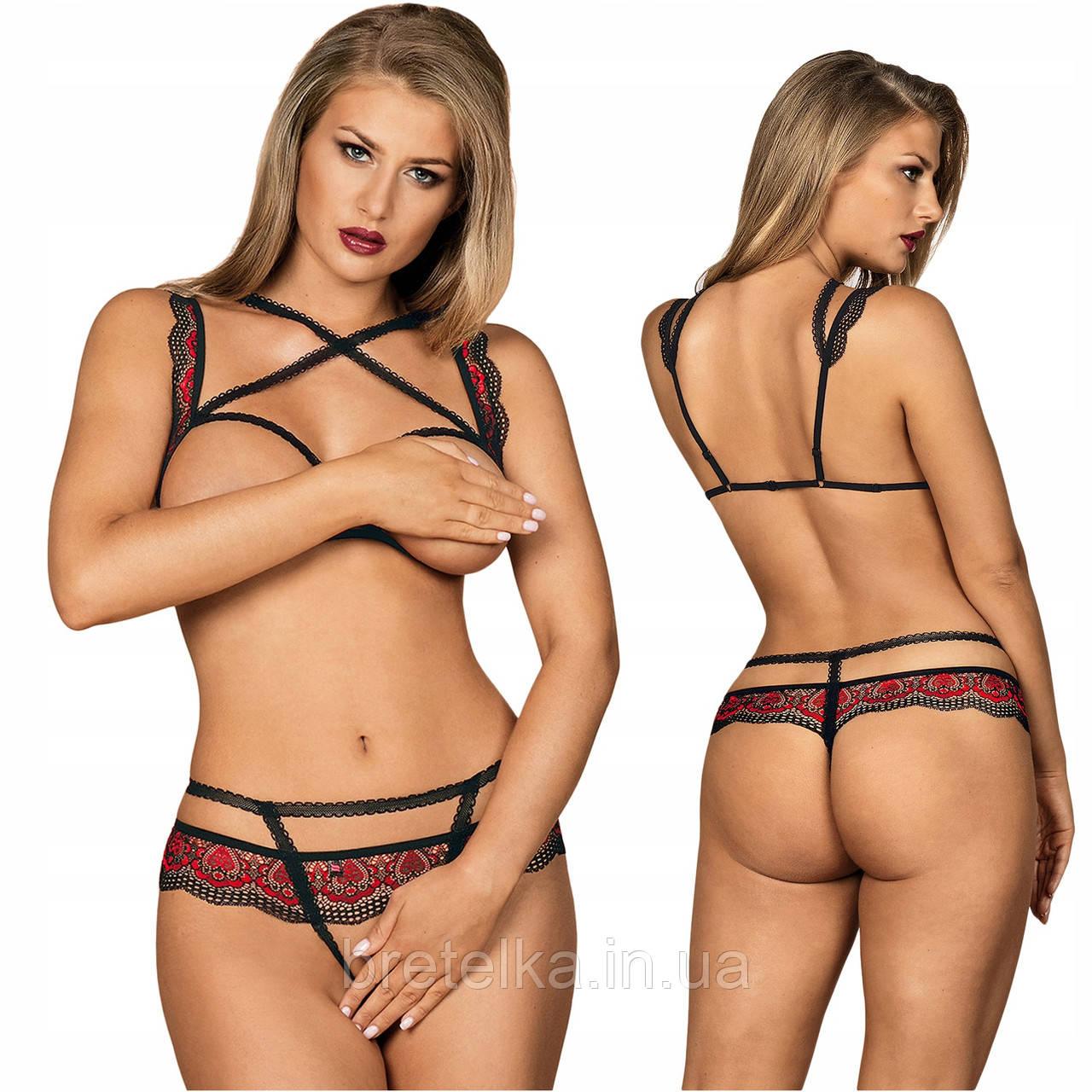 Комплект нижнего белья открытый бюстгальтер и стринги с вырезом черный с красным кружевом Obsessive Megies
