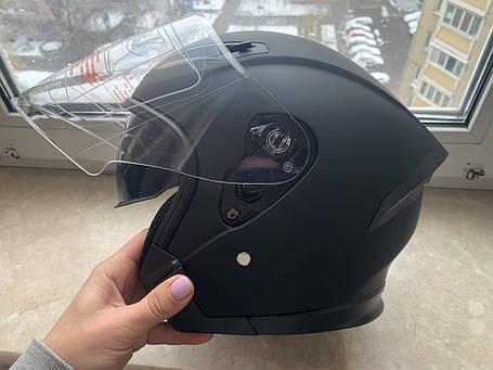 Чёрный Матовый мото шлем полулицевик с визиром и дополнительными очками, фото 2