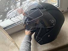 Чёрный Матовый мото шлем полулицевик с визиром и дополнительными очками, фото 3