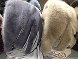 Зимняя норковая косынка цвет жемчуг, фото 8