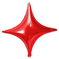"""Фольгированные шары Звёзды 4 угольные. Цвет: Красный. Размер:26""""(65см).Пр-во:Китай."""