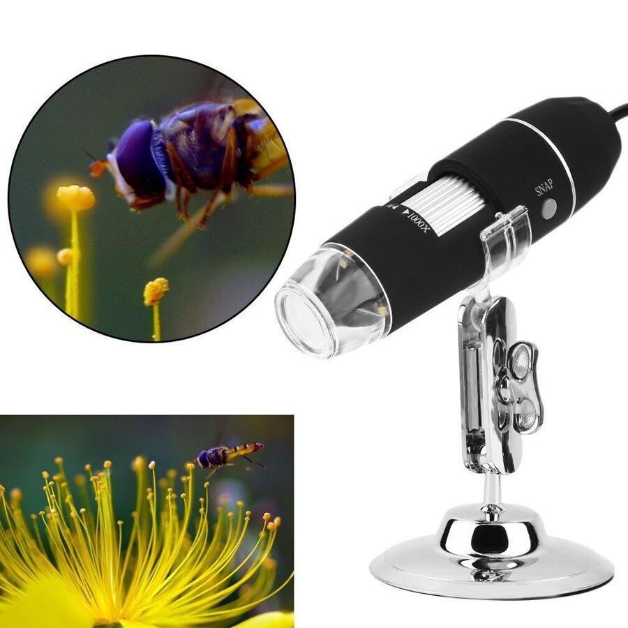 1000X HD  цифровой USB микроскоп + Калибровочная линейка 8 светодиодных ламп