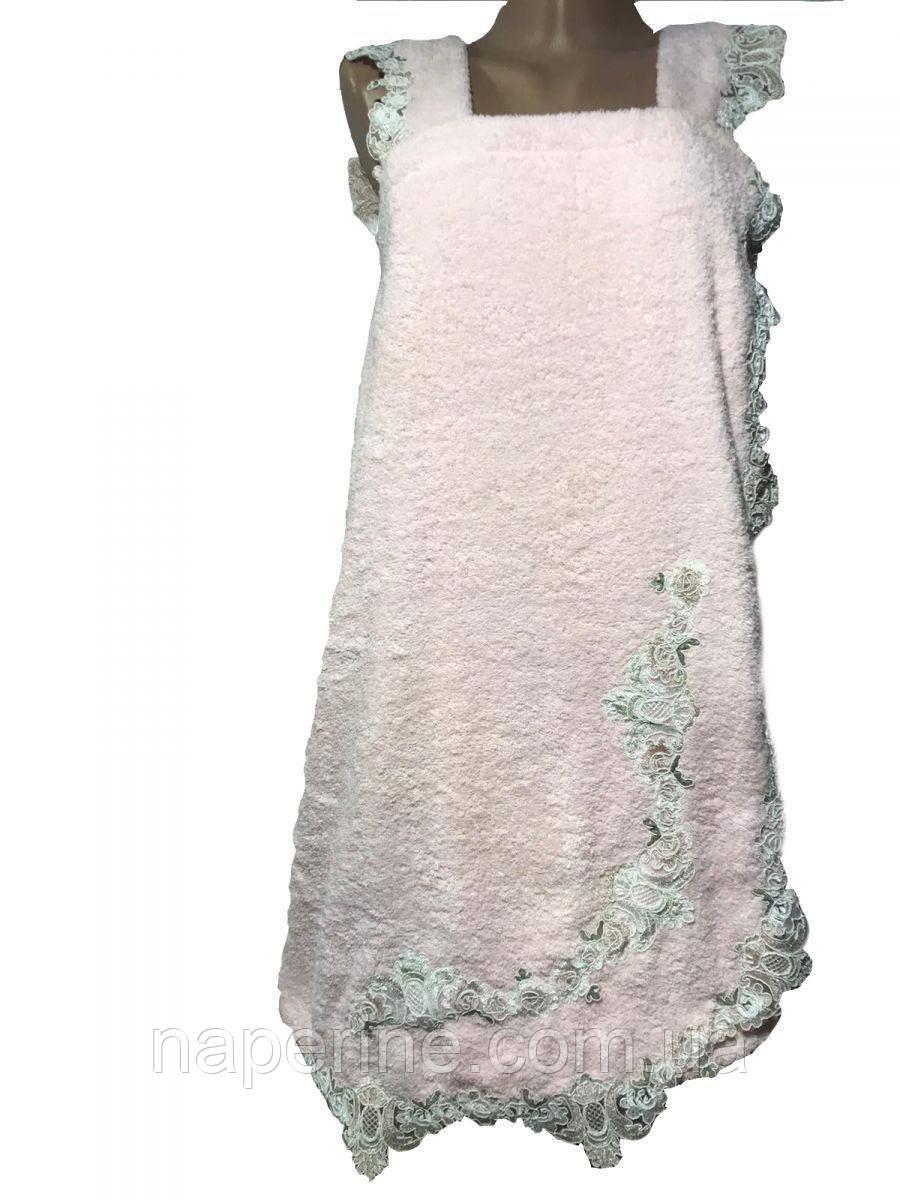 Набір для сауни з вишивкою та мереживом жіночий 3 предмета Just home рожевий
