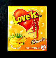 Презервативы LOVE IS премиум с бананом и вкладышем(комиксом) 3 шт. Великобритания