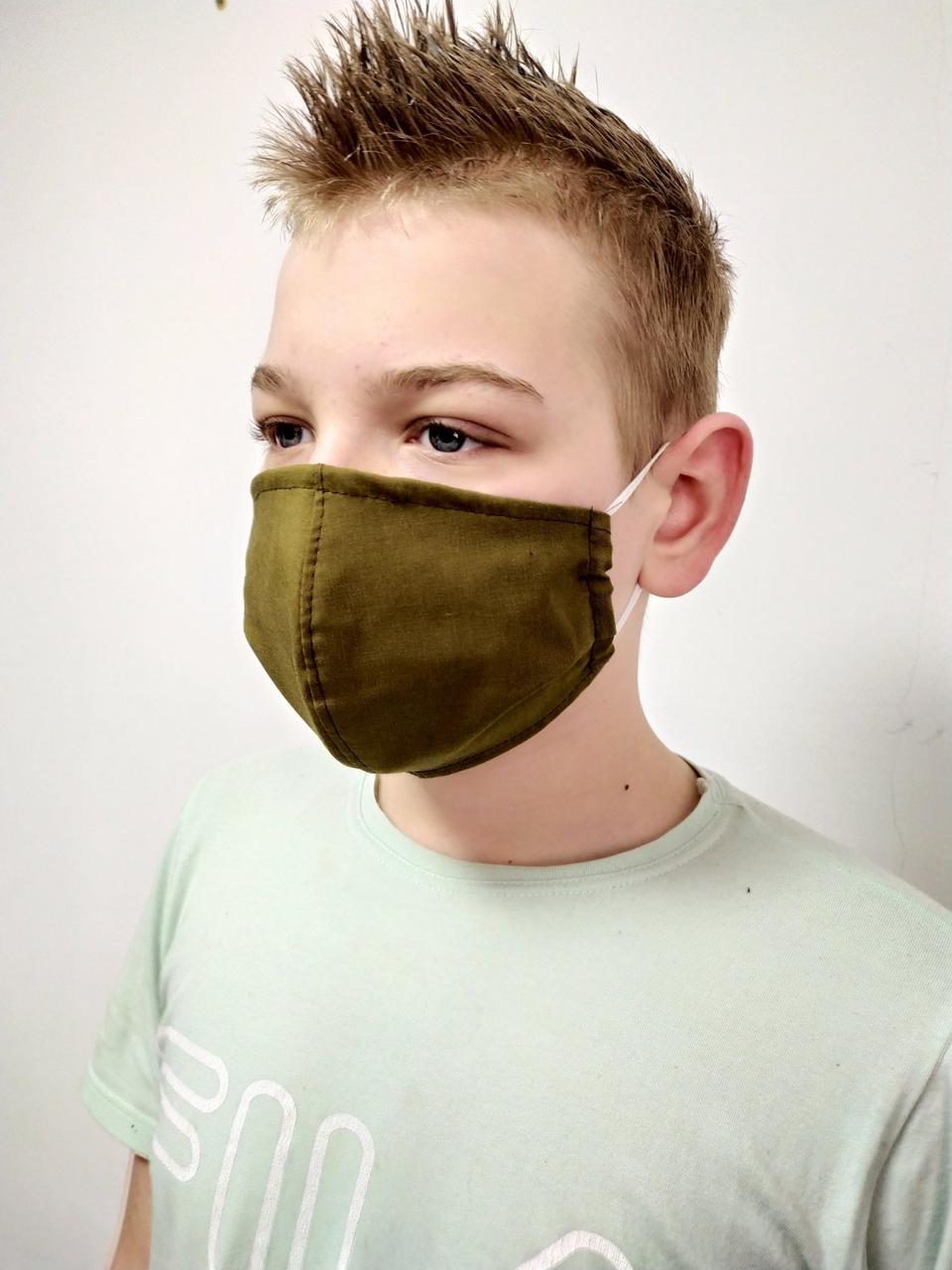 Маска защитная для лица тканевая многоразовая c карманом для марлевого фильтра