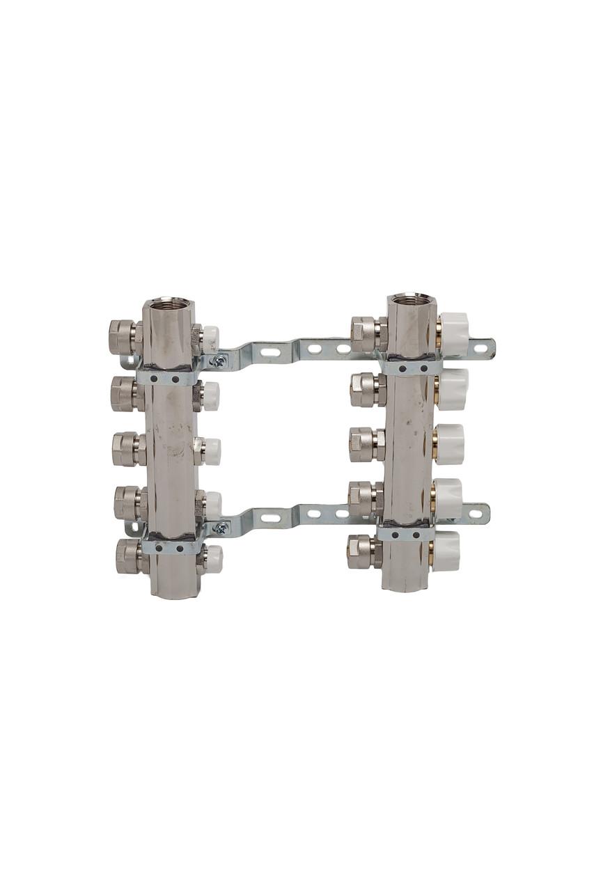 Коллекторная группа с расходомерами и термо клапанами М30х1,5  5 выходов с евроконусом 16х2