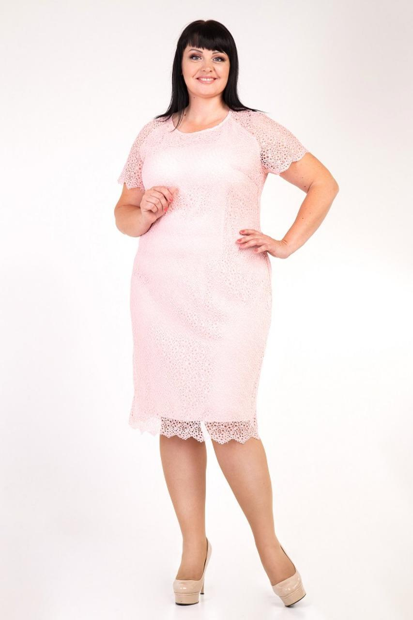 Нарядное гипюровое платье цвета пудры