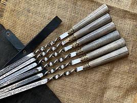 """Подарунковий набір шампурів з дерев'яними ручками """"Версаль 2"""" в шкіряному сагайдаку"""