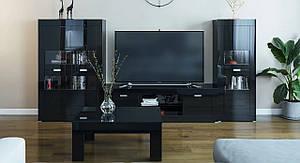 Модульная гостиная Прага черный лак Світ Меблів