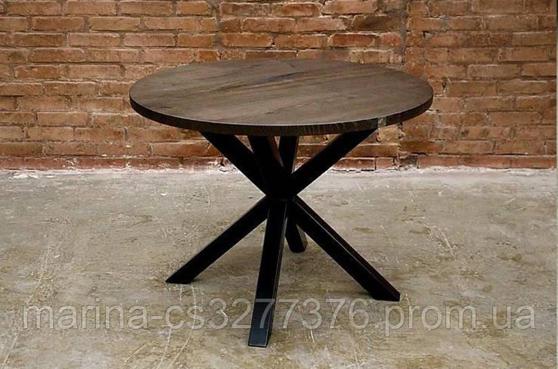 Стол круглый со столешницей из массива дерева ясеня с металлическими ножками