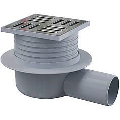 Сливной трап 105x105/50мм с бок. подвод., решетка–нержавеющая сталь, гидрозатвор–мокрый