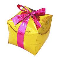 """Фольгированный шар куб Подарок. Цвет: Золото. Размер:24""""(29см*26см)..Пр-во:Китай."""