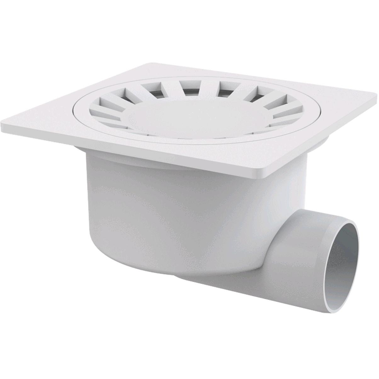 Сливной трап 150x150/50, подводка–боковая, решетка–белая, гидрозатвор–мокрый