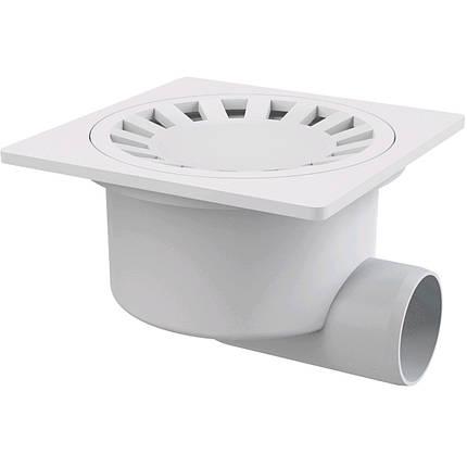 Сливной трап 150x150/50, подводка–боковая, решетка–белая, гидрозатвор–мокрый, фото 2